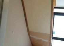Die Stufen wurden mit Biegesperrholz verschlossen, gespachtelt und später gestrichen