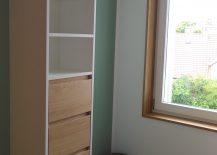 Badschrank Badmöbel Fensterlaibung Eiche
